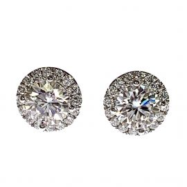 Pre-Owned 18ct White Gold 2ct Diamond Stud Earrings