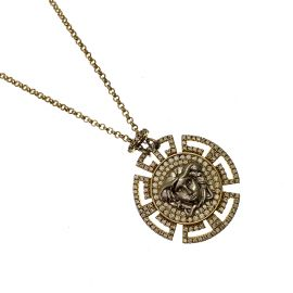 New Gold Plated Silver CZ Medusa Head Necklace