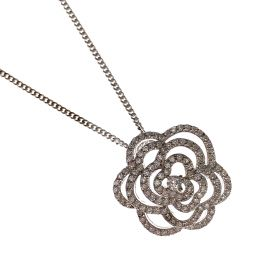 New Silver CZ Flower Pendant Necklace