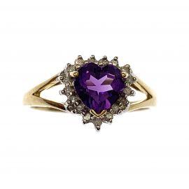 New 9ct Gold Amethyst & Diamond Ring