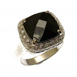 New Sterling Silver Onyx Cocktail Ring