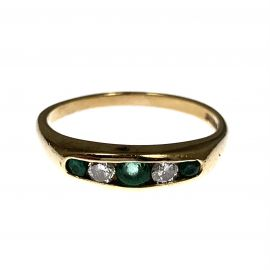 Pre-Owned 9ct Gold Diamond & Emerald Ring