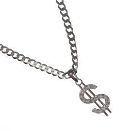 New Silver CZ Dollar Pendant and Chain