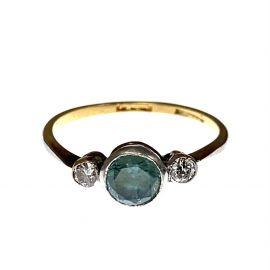 Pre-Loved 9ct Gold Diamond & Topaz Trilogy Ring
