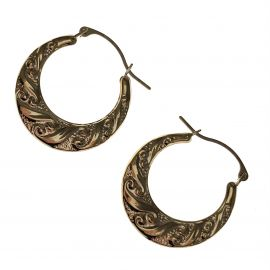New 9ct Gold Patterned Hoop Earrings