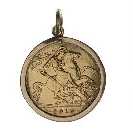 22ct Gold Half Sovereign Pendant - Edward VII 1910