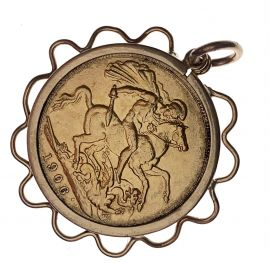 1906 Edward VII 22ct Gold Full Sovereign Pendant