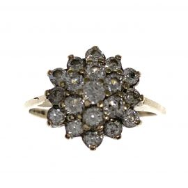 Pre-Owned 9ct Gold CZ Cluster Ring