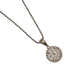 New Sterling Silver CZ Halo Pendant Necklace