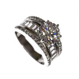Pre-Loved 925 Silver CZ Ladies Ring