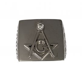 New Silver CZ Masonic Ring