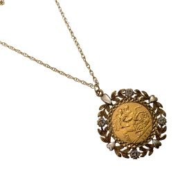 Pre-Loved 22ct Gold Half Sovereign Pendant with Fancy 9ct Gold Chain