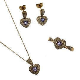 Pre-Owned 9ct Gold Tanzanite & Diamond Ladies Gift Set