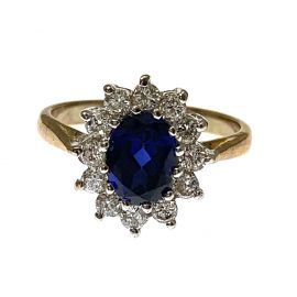 Pre-Owned 9ct Gold Sapphire & CZ Ring