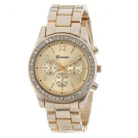 Gold & Crystal Bezel Fashion Watch